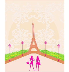 Beautiful girls shopping in paris vector