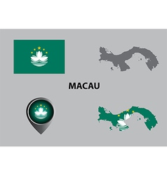 Map of macau and symbol vector