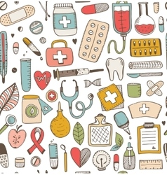 Seamless health care and medicine sketch pattern vector
