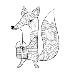 Hand drawn Fox with gift Doodle zentangle vector image