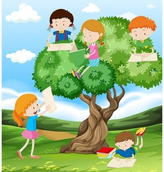Children reading and writing in the park vector image