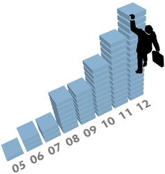 Business man climbs up sales data chart vector