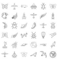 Aerospace icons set outline style vector