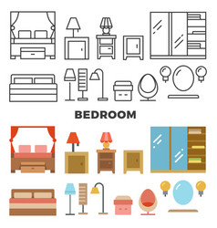 bedroom furniture and accessories collection - vector image vector image