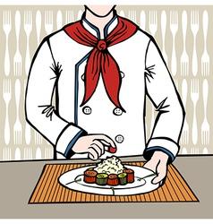 Chef preparing sushi vector image vector image