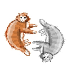Cute orange and grey cats sketch for your design vector
