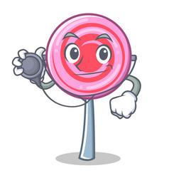doctor cute lollipop character cartoon vector image vector image