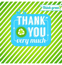Ecological thank you card gratitude for thinking vector