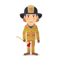 Firefighter man character vector
