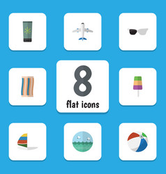 Flat icon beach set of aircraft ocean wiper and vector