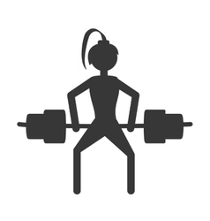 Girl lifting barbell fitness gym vector