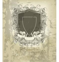 Grunge floral emblem vector