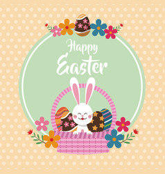 Happy easter bunny in basket egg floral dots vector