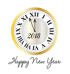 happy new year metallic clock vector image