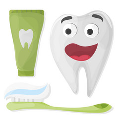 healthy cute cartoon tooth character with vector image