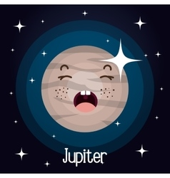 Jupiter planet character space background vector