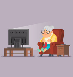 old lady watching tv sit armchair cartoon vector image vector image