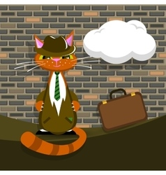 orange cat in suit with briefcase vector image vector image