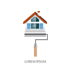 Paint roller with house symbol icon vector