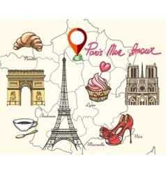 Paris france symbols vector