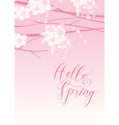 Pink spring landscape with flowering tree vector
