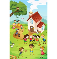 Playground with kids vector image vector image