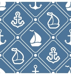 Seamless pattern of anchor sailboat shape vector image vector image