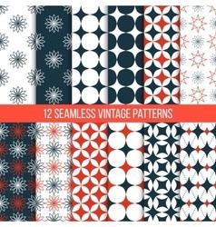 seamless vintage patterns set vector image vector image