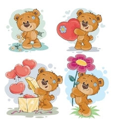 Set clip art of teddy bears vector image vector image