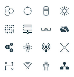 set of 16 machine learning icons includes related vector image vector image