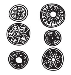 Set of decorative round elements vector