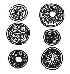 Set of decorative round elements vector
