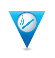 Smoking blue triangular map pointer vector