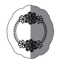 sticker silhouette decorative border with flowers vector image vector image