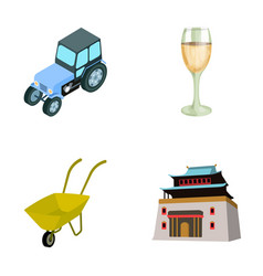 tractor glass and other web icon in cartoon style vector image vector image