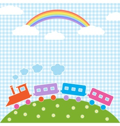 Train and rainbow vector image vector image