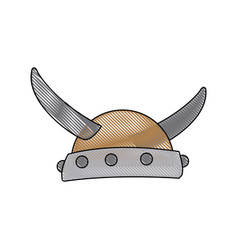 viking in horned helmet mask man halloween vector image
