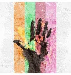 vintage poster handprint vector image