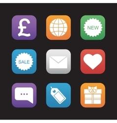 Web store flat design icons set vector