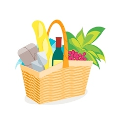 Picnic basket full of food and wine vector