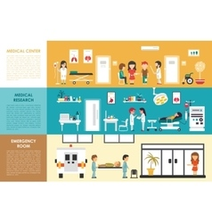 Medical center research emergency room flat vector