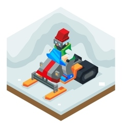 Snowmobile winter activity vacation journey flat vector