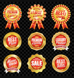 Set of excellent quality red badges with gold vector
