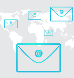 Business email social network in background world vector
