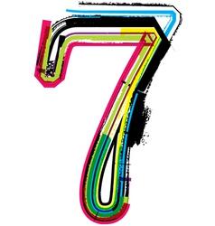 Grunge colorful font Number 7 vector image
