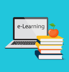 E-learning with laptop vector