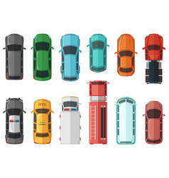 Pictures of transportation top view cars isolated vector