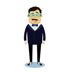 Hipster geek business man character vector