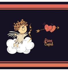 Cute cupid in the dark sky vector