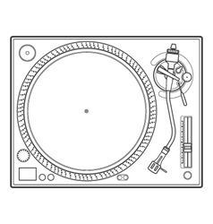 Outline vinyl turntable vector